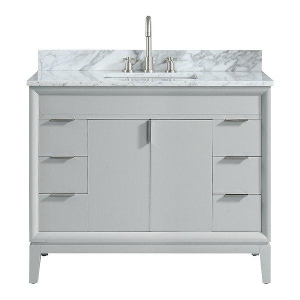 avanity emma vs43 dg c emma 43 inch vanity combo in dove gray with carrara white marble top