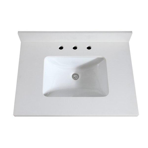 avanity vut31wq r 31 inch white quartz vanity top with rectangular undermount sink