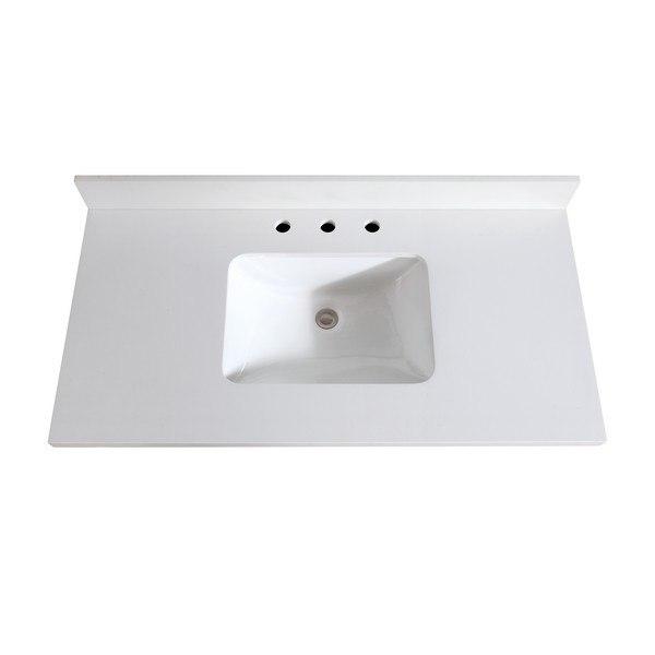 avanity vut43wq r 43 inch white quartz vanity top with rectangular undermount sink