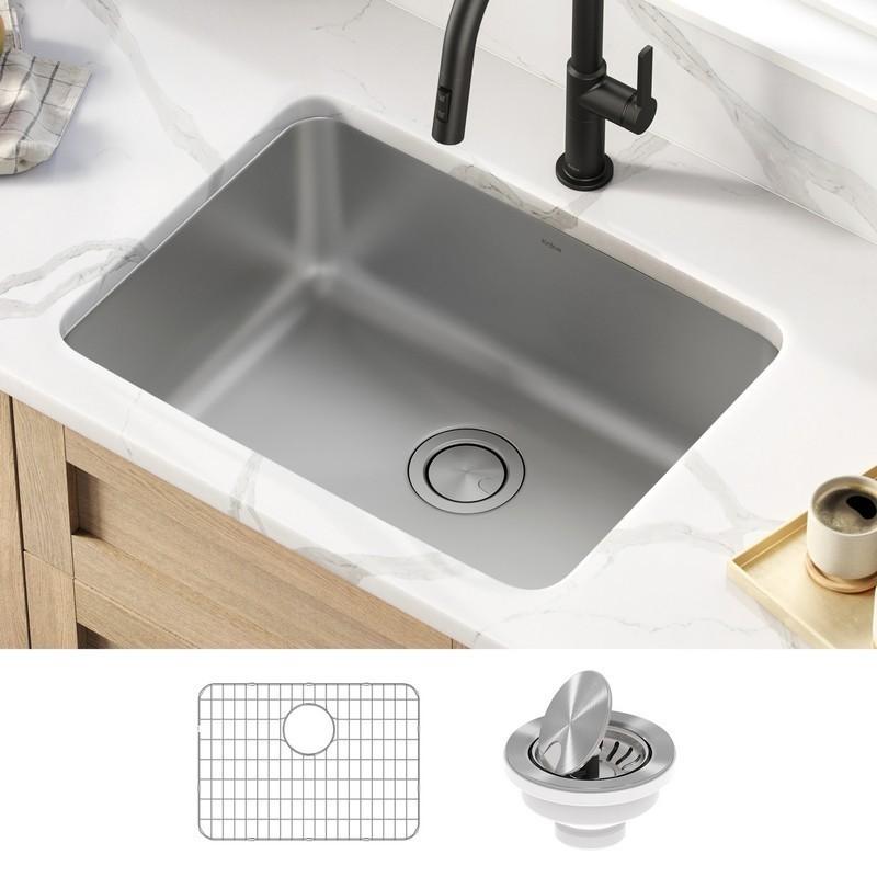 kraus ka1us25b dex 25 inch undermount 16 gauge antibacterial stainless steel single bowl kitchen sink