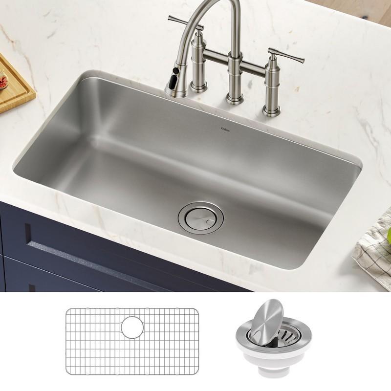 kraus ka1us33b dex 33 inch undermount 16 gauge antibacterial stainless steel single bowl kitchen sink