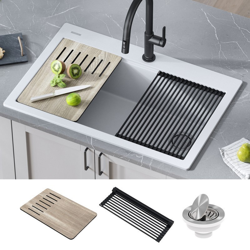 kraus kgtw1 33wh bellucci workstation 33 inch drop in granite composite single bowl kitchen sink in white with accessories