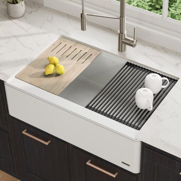kraus kgf1 33white bellucci 33 inch quartz farmhouse apron front kitchen sink with ceramtek in white