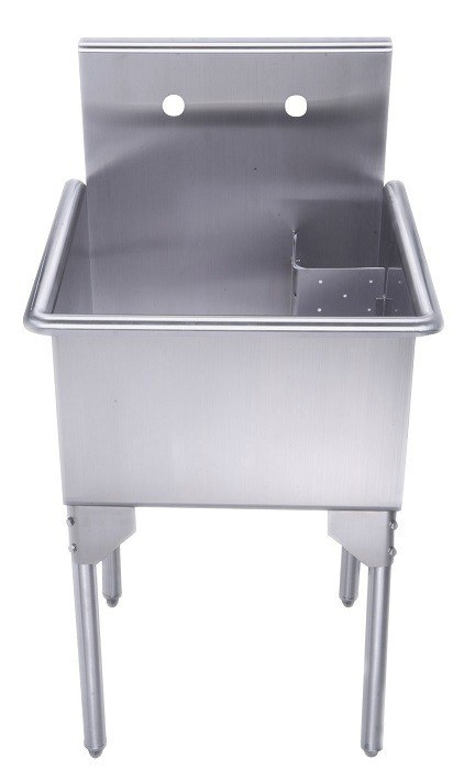 whitehaus whls2424 np 24 inch brushed stainless steel freestanding utility sink