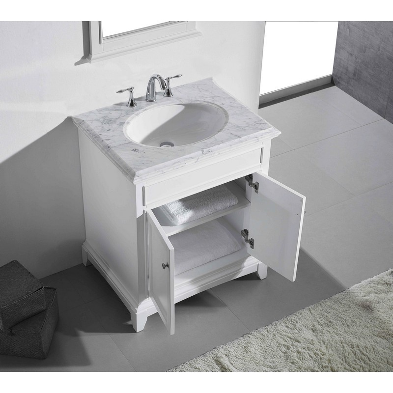 eviva evvn709 30wh elite stamford 30 inch white solid wood bathroom vanity set with double og white carrera marble top and white undermount porcelain