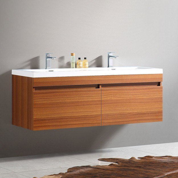 eviva evvn144 57 surf 57 inch modern bathroom vanity set with integrated white acrylic double sink