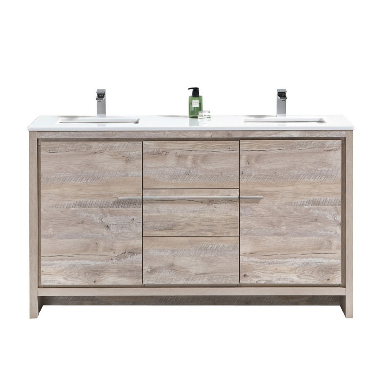 kubebath ad660dnw dolce 60 inch double sink nature wood modern bathroom vanity with white quartz countertop