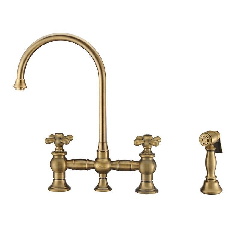 whitehaus whkbtcr3 9101 nt vintage iii plus bridge faucet with long gooseneck swivel spout cross handles and solid brass side spray