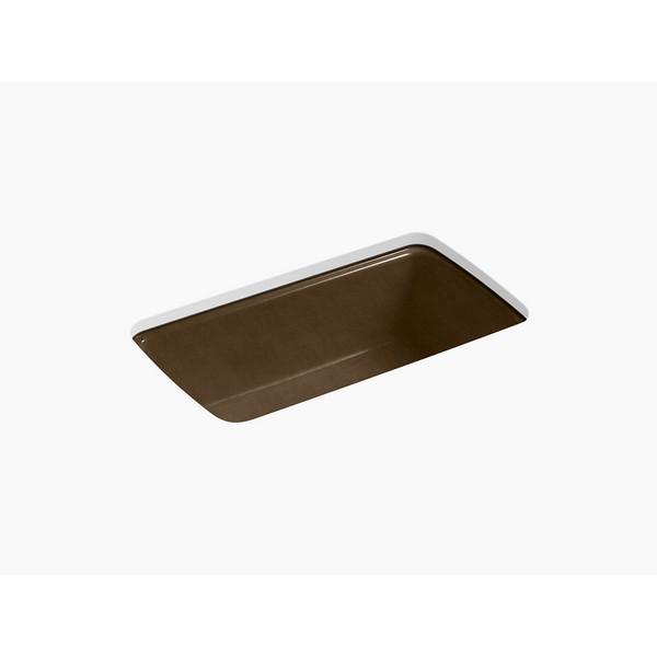 kohler 5864 5u cape dory 33 inch single basin under mount enameled cast iron kitchen sink black n tan
