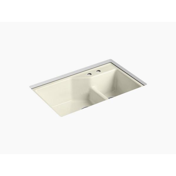 kohler 6411 2 indio 33 inch double basin under mount enameled cast iron kitchen sink with smart divide cane sugar