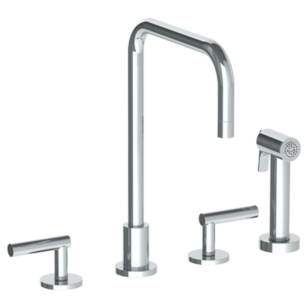 watermark 23 7 1 loft 12 inch four holes deck mount widespread kitchen faucet with side spray