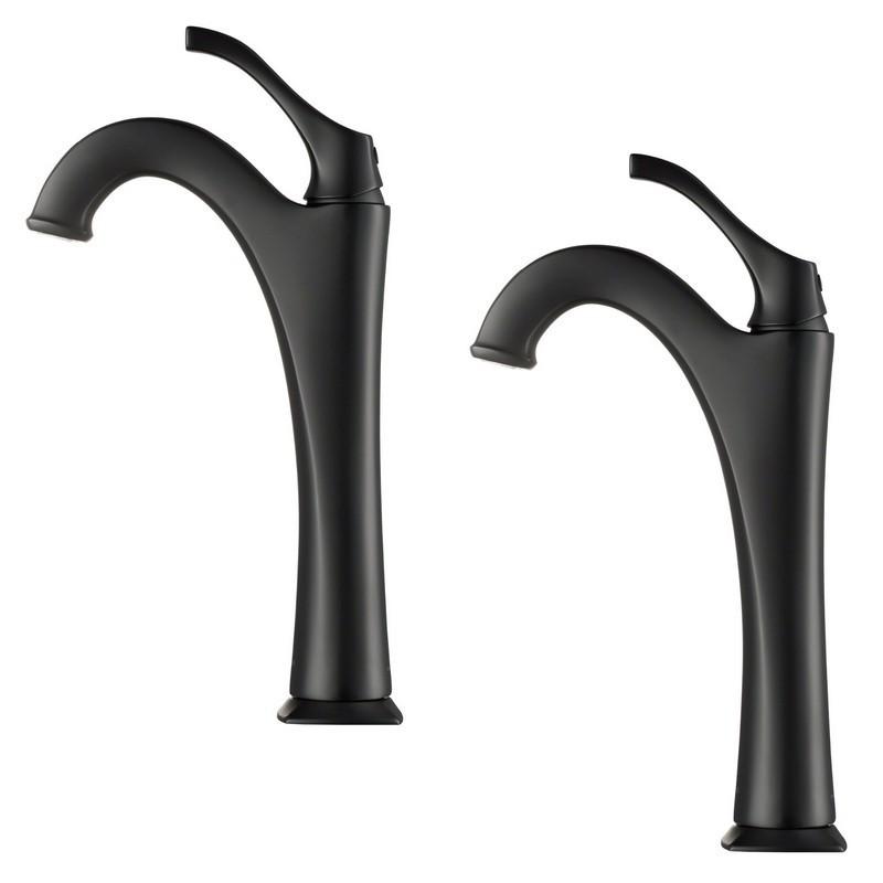 kraus kvf 1200mb 2pk arlo tall vessel bathroom faucet with pop up drain 2 pack matte black