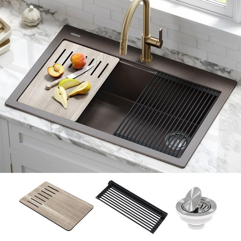 kraus kgtw2 33mbr bellucci workstation 33 inch drop in granite composite single bowl kitchen sink with accessories metallic brown