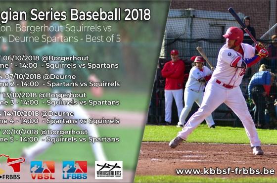 Saturday 6 October start of Belgian Series Baseball 2018