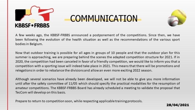 Communication update KBBSF-FRBBS  28 April 2021