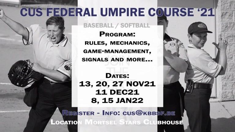 CUS Federal Umpire Course '21 – baseball & softball