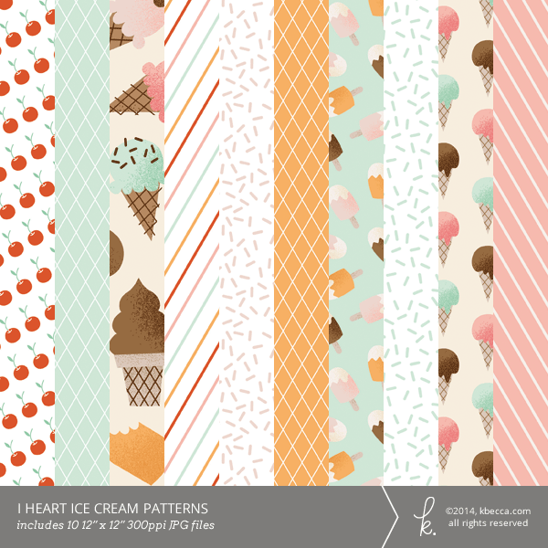 I Heart Ice Cream Digital Printable Patterns