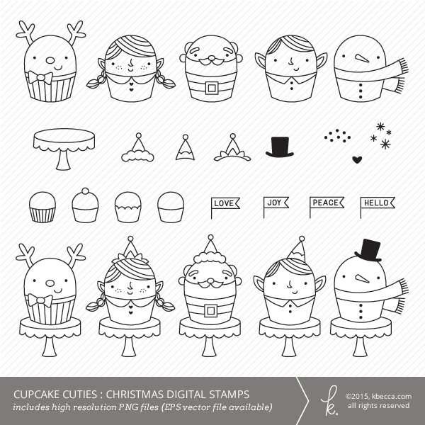 Cupcake Cuties Christmas Commercial Use Digital Stamps