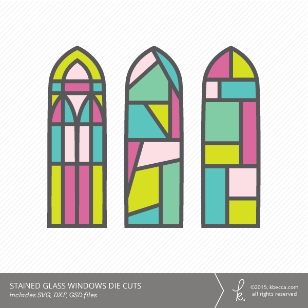 Stained Glass Windows Die Cuts SVG File Included