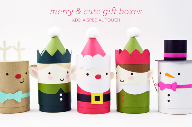 DIY Die Cut Cylinder Holiday Gift Boxes