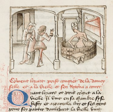 Liziart spies on the bathing Euryant through a hole in the wall and sees a mark on her breast. Miniature by the Maître de Wavrin in Gérard de Nevers. KBR, ms 9631, f.12v