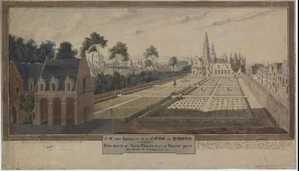 Dessin de Paul Vitzthumb. Vue des Jardins et de la Cour de Nassau à Bruxelles. s.d. KBR, ms 11673