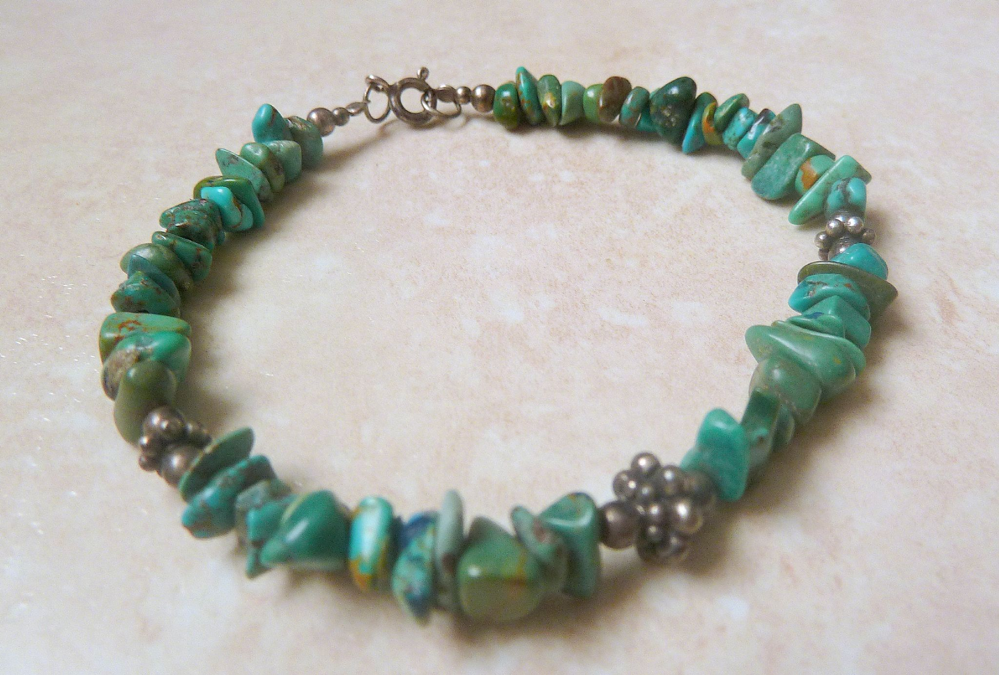 Sterling Silver And Turquoise Stone Chip Bracelet