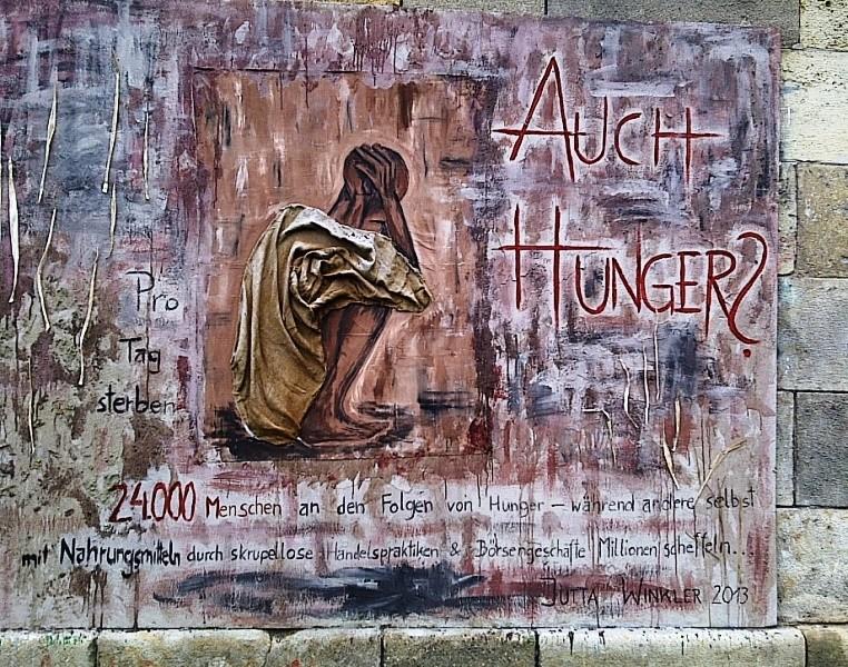 Hunger Too Artwork Donaukanal, Vienna, Austria- Jutta Winkler 2013, graffiti