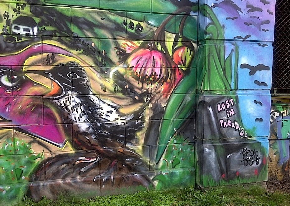Lost in Paradise, graffiti, Donaukanal, Vienna, Austria, 2014