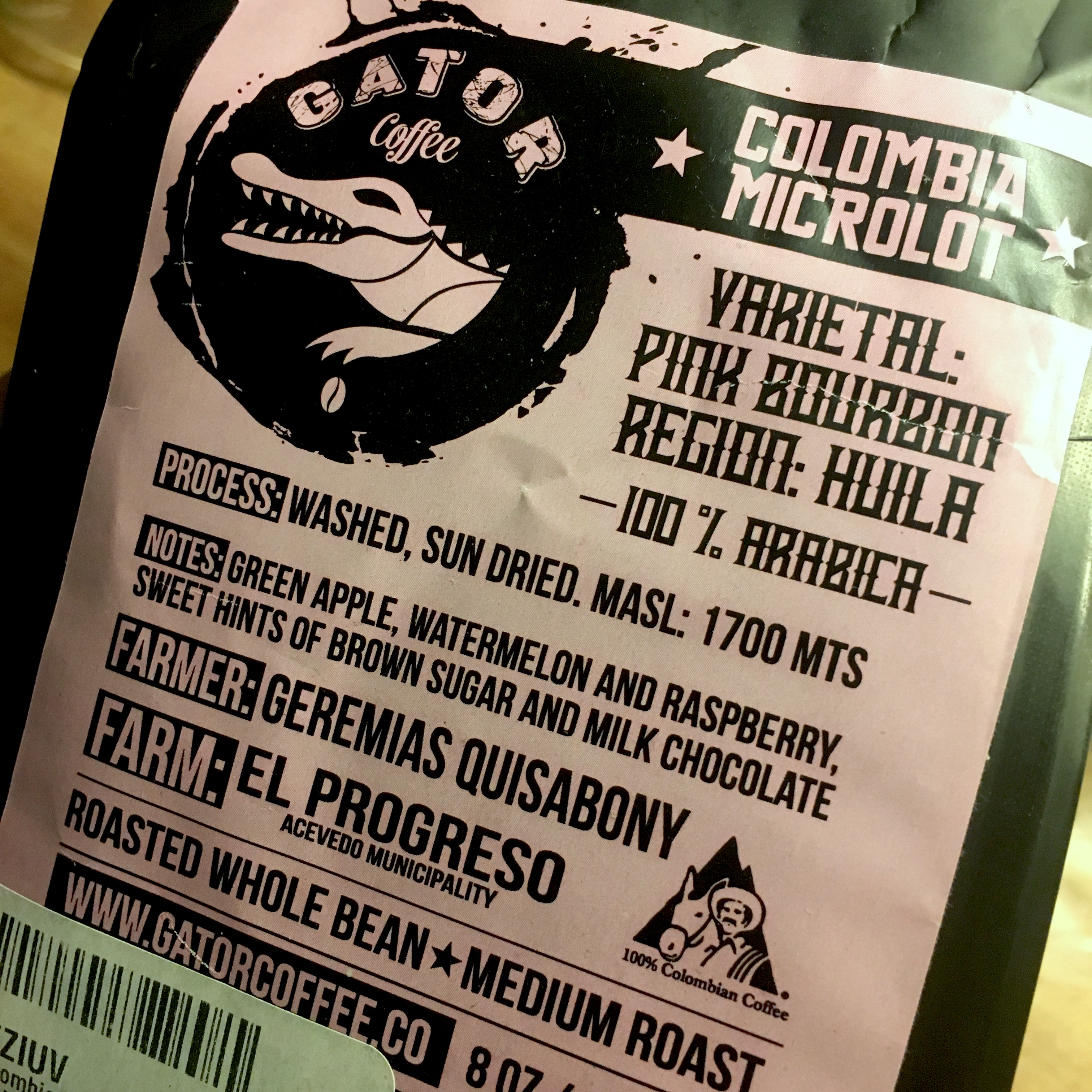 Gator Coffee Colombia Pink Bourbon
