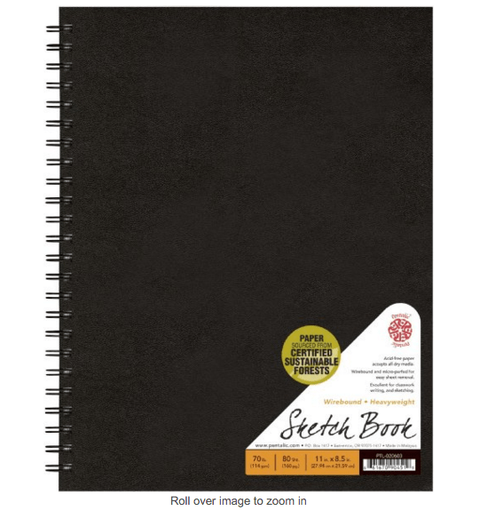 Pentalic Sketch Book, Wirebound, 8-1/2-Inch by 11-Inch