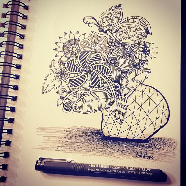 Funky Vase Doodle Kcdoodleart