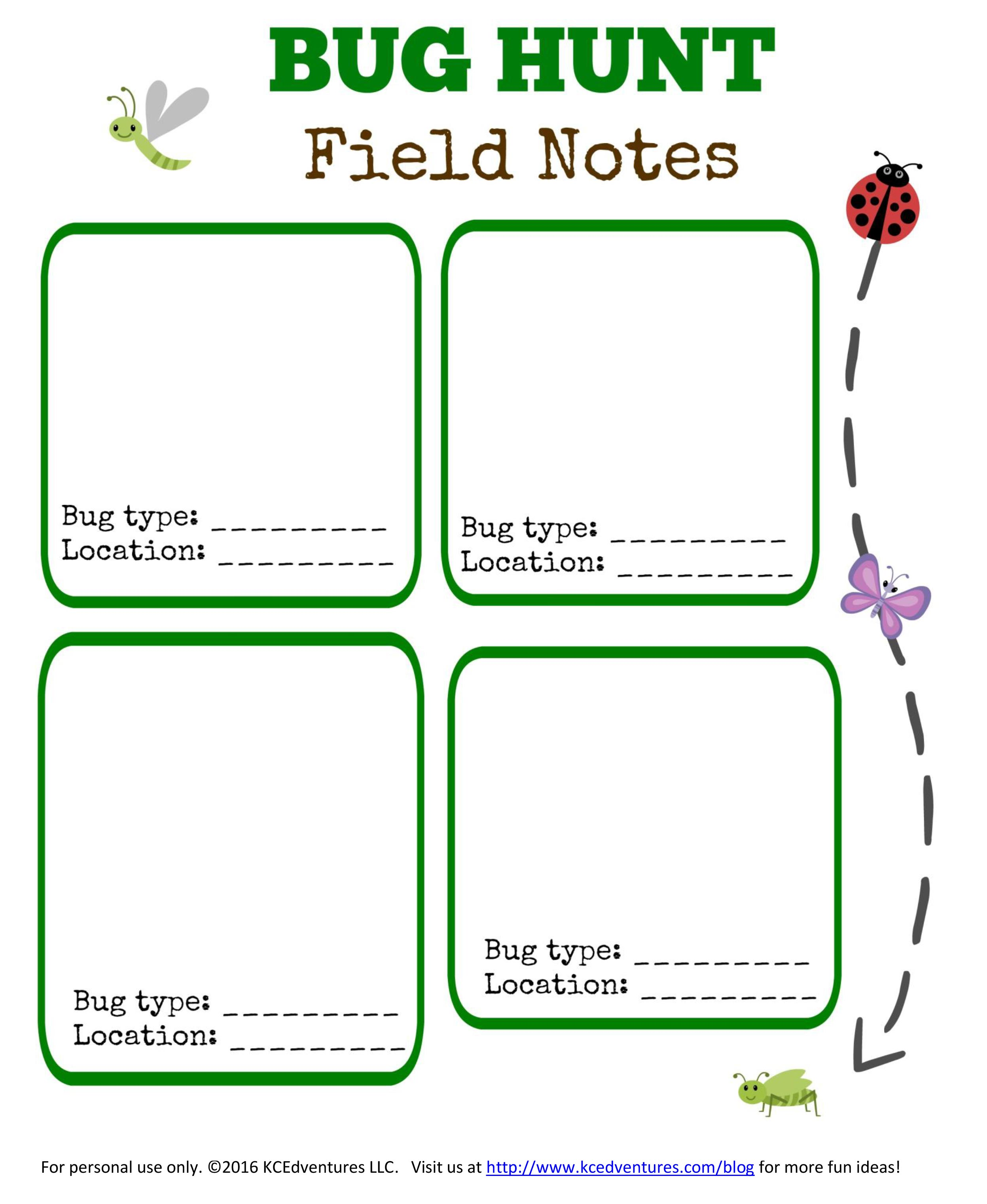 Bug Scavenger Hunt Free Printable
