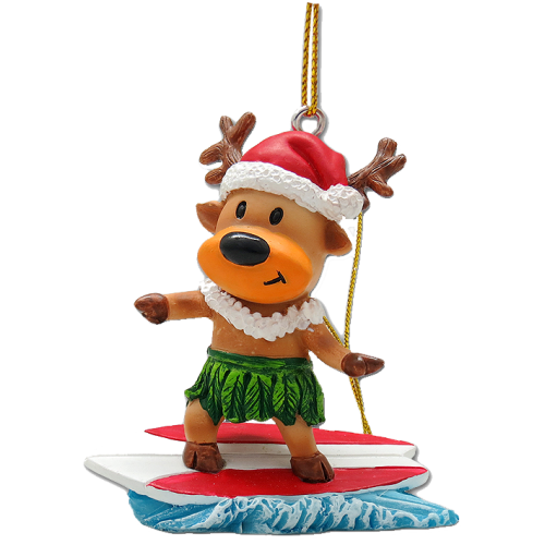 Surfing Reindeer Ornament