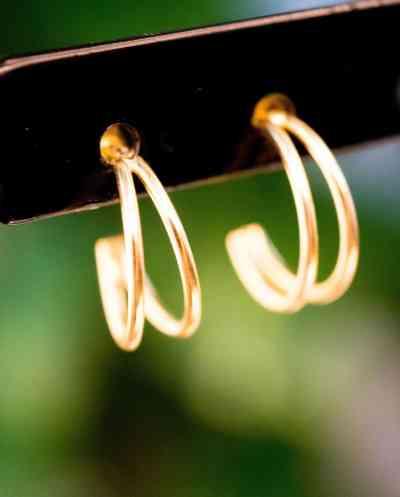 Gouden oorbellen 'Double Hoops' studs van Goud Vermeil