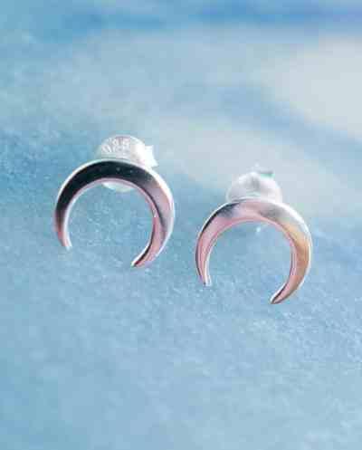 Zilveren 'Moon' oorbellen