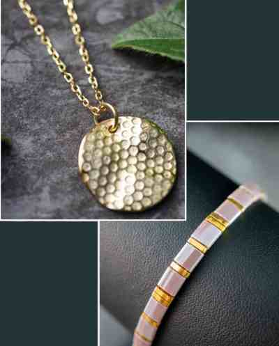 Gouden ketting met hanger en paarse Miyuki Tila armaband