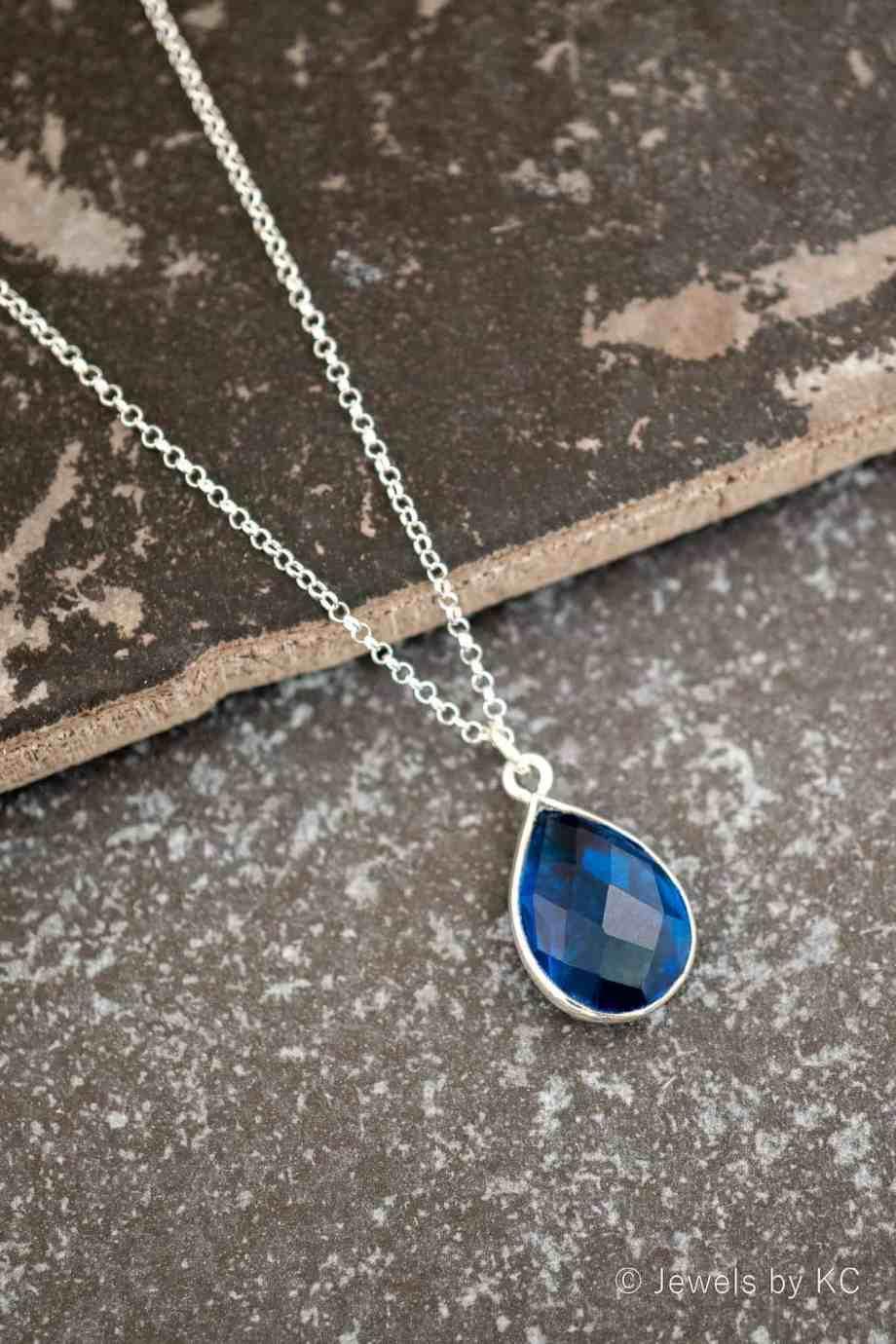 Zilveren edelsteen ketting Blauwe 'Ioliet' van Sterling Zilver