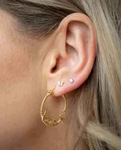 Gouden Vlinder oorbellen oorringen van Goud op Zilver