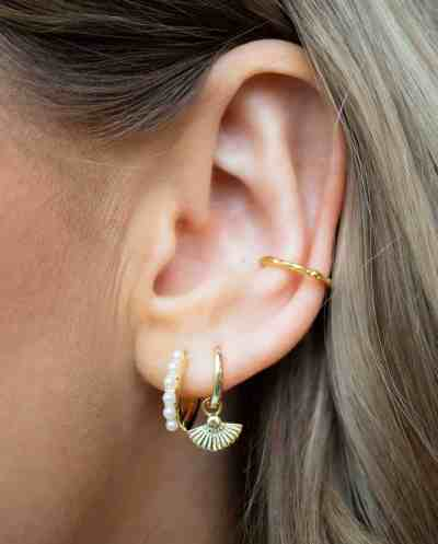 Gouden 'Waaier' oorbellen van Goud op Zilver