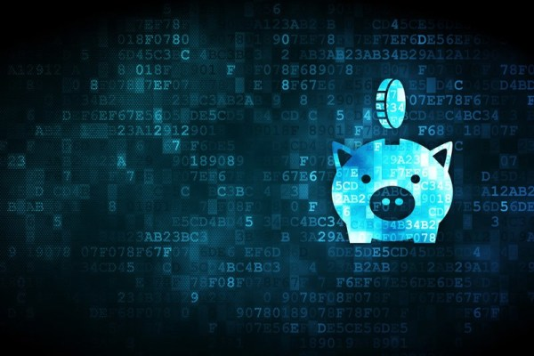 Piggy bank on digital background. Digital asset and cryptocurrency estate planning.