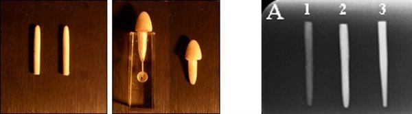 Fibras extruidas de polietileno e hidroxiapatita. La imagen de la derecha las compara contra un producto comercial (imagen http://www.kcl.ac.uk/)