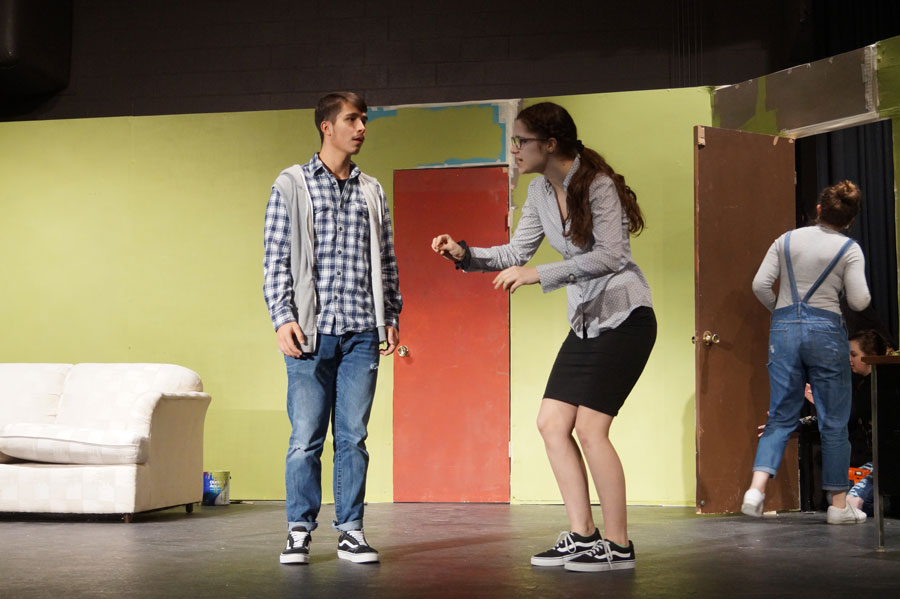 Senior+Isaia+Wilcoxen+and+sophomore+Aylea+Cole+rehearse+Jan.+25+for+%22Playing+Doctor.%22+The+play+opens+Feb.+1.