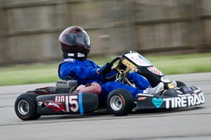 Jana Hitchcock laying down some good speed through the slaloms in her No 15 FJA kart.