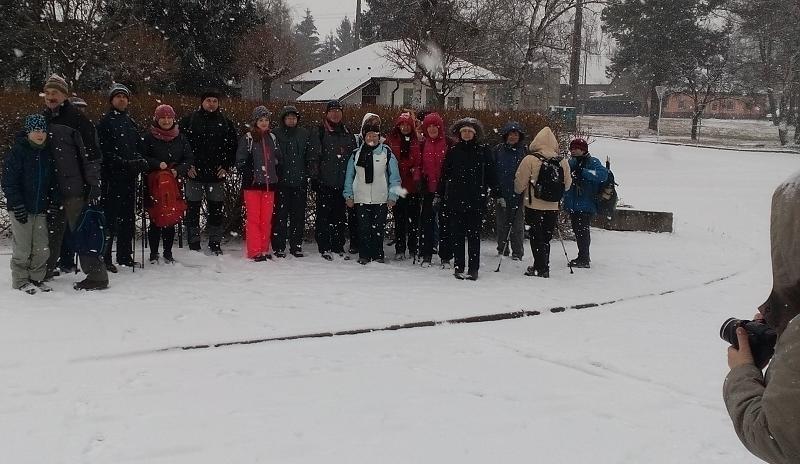 Novoroční výstup na Jedovou se sněhem