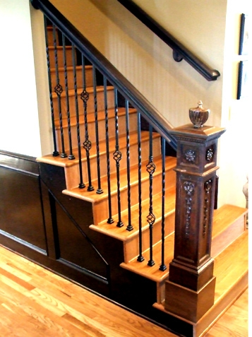 Antique Heirloom Newel Post With Iron Spindles Railing Kc Wood | Antique Handrails For Stairs | Newel Posts | Wrought Iron Stair | Antique Wood | Antique Green | Wood