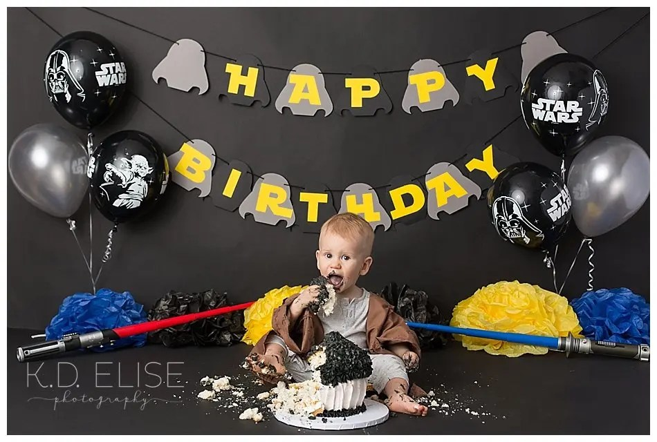 Star Wars themed first birthday cake smash session.