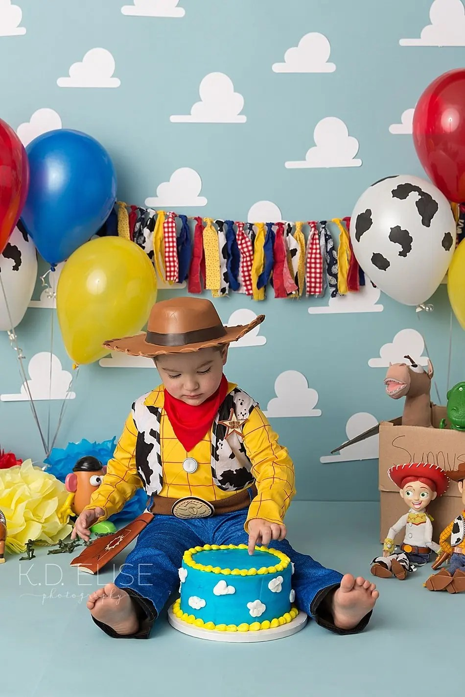 Toy Story themed cake smash photo of little boy in Woody costume.
