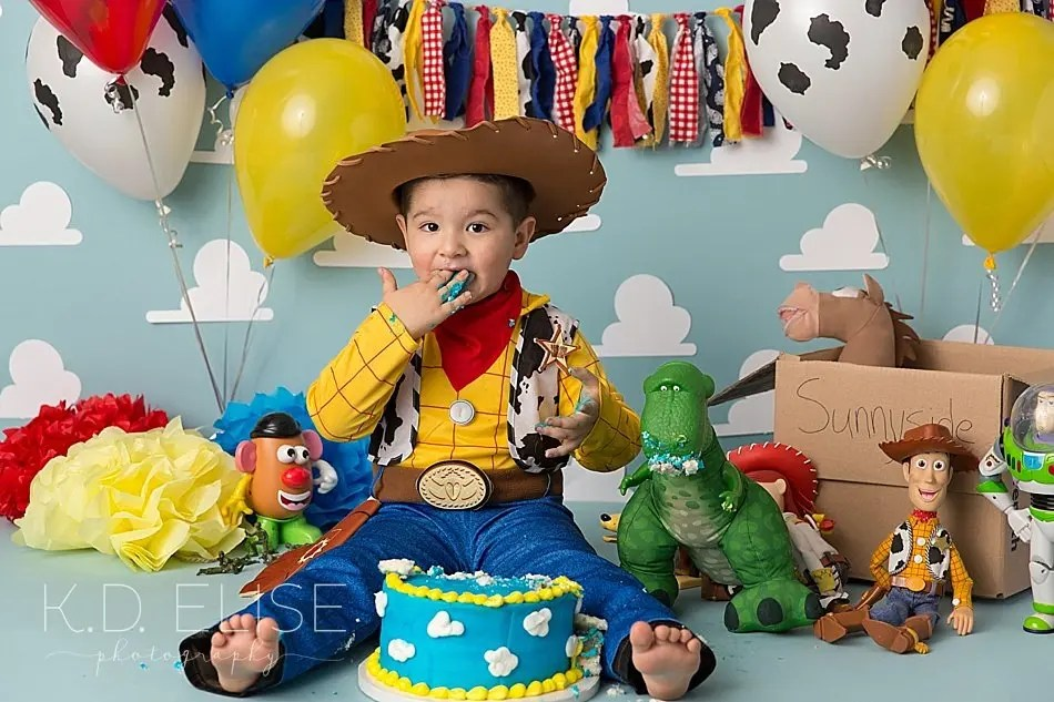 Toy Story themed first birthday cake smash session by Pueblo photographer K.D. Elise Photography.