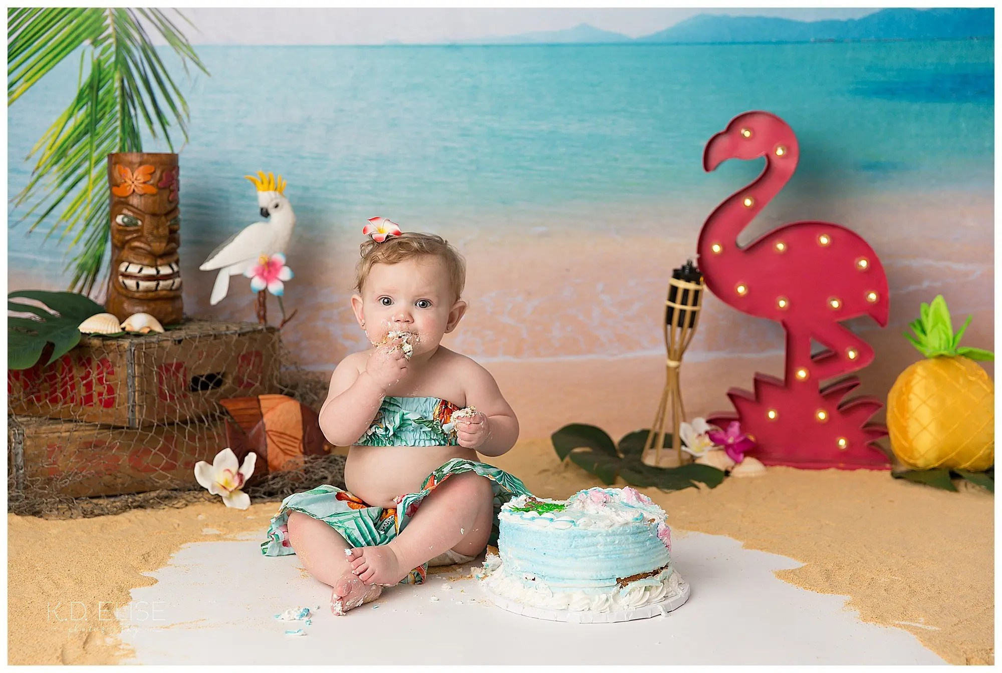 Luau themed cake smash with beach backdrop, flamingo, palm leaves, and flowers by Pueblo photographer K.D. Elise Photography.
